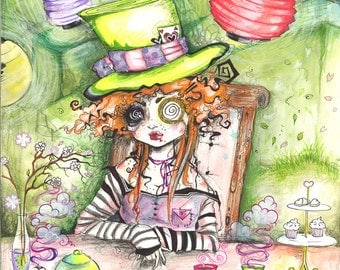 The Mad Hatter Fine Art Print Alice in Wonderland Trippy Tea Party