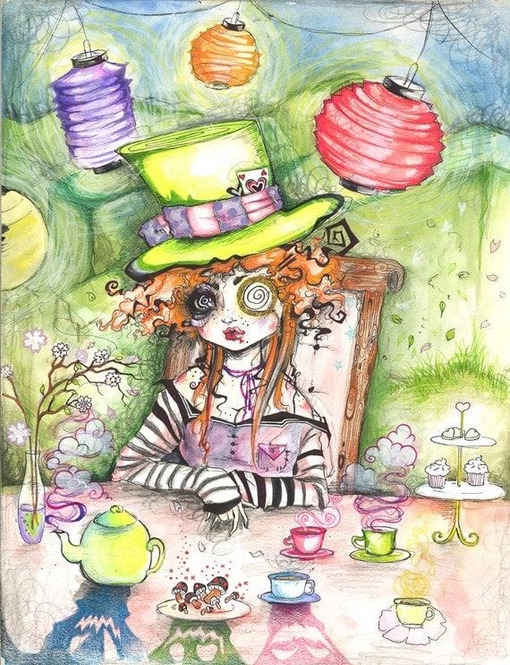 The Mad Hatter Fine Art Print Alice in Wonderland Trippy Tea