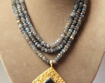 Faceted Labradorite Gemstone Amulet Pendant Necklace - Super long!