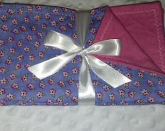 Pink Flowers Burp Cloth Set of 3!