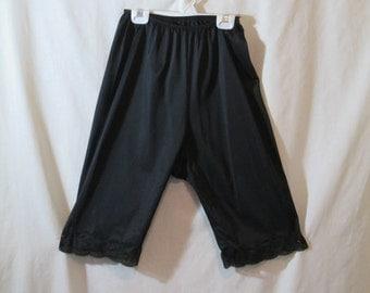 SALE Vintage 1950's 1960's black nylon long underwear undies with lace size large