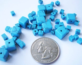 Imitation Turquoise Cubes (4-8mm, appx 100 beads)