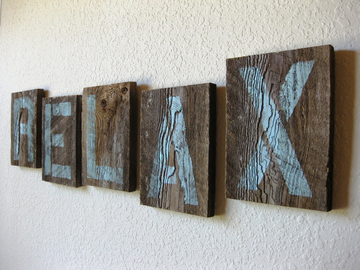 reclaimed barn wood letters in soft teal relax wall art With reclaimed barn wood letters