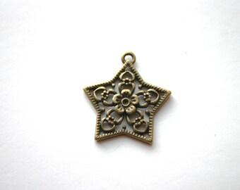 "8 - Antique Bronze Star Filigree  -  ""Wish"" style"