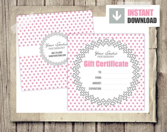 Gift Card Gift Certificate Template For Photographers   Pink Polka Dot    Printable 5x5 Gift Card  Gift Card Certificate Template