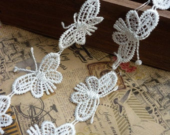 "Lace Trim White Butterfly Embroidery Lace Fabric Wedding Fabric 1.49"" width 3 yards"