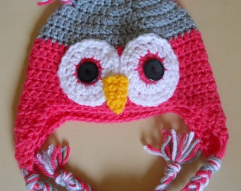 Pink and Grey Owl hat