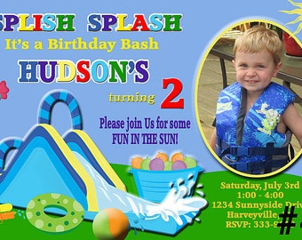 20 Water Slide Birthday Invitation PRINTED with Photo / PRINTED 20 or more  waterslide invitations  / includes envelopes