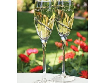 Personalized Wedding Flutes Champagne Platinum Swirl Toasting Glasses Ceremony Engraved