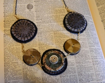 Button Necklace - Wool Felted Disk Celluloid Vintage Button Necklace