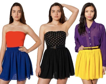 American Apparel Black Chiffon Mini Skirt