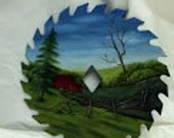 "7"" Oil Painted Circular Saw Blade Depicting a Farm Scene"