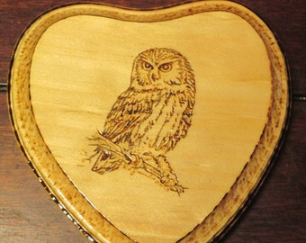 5 inch, heart shaped, Saw whet Owl woodburned plaque