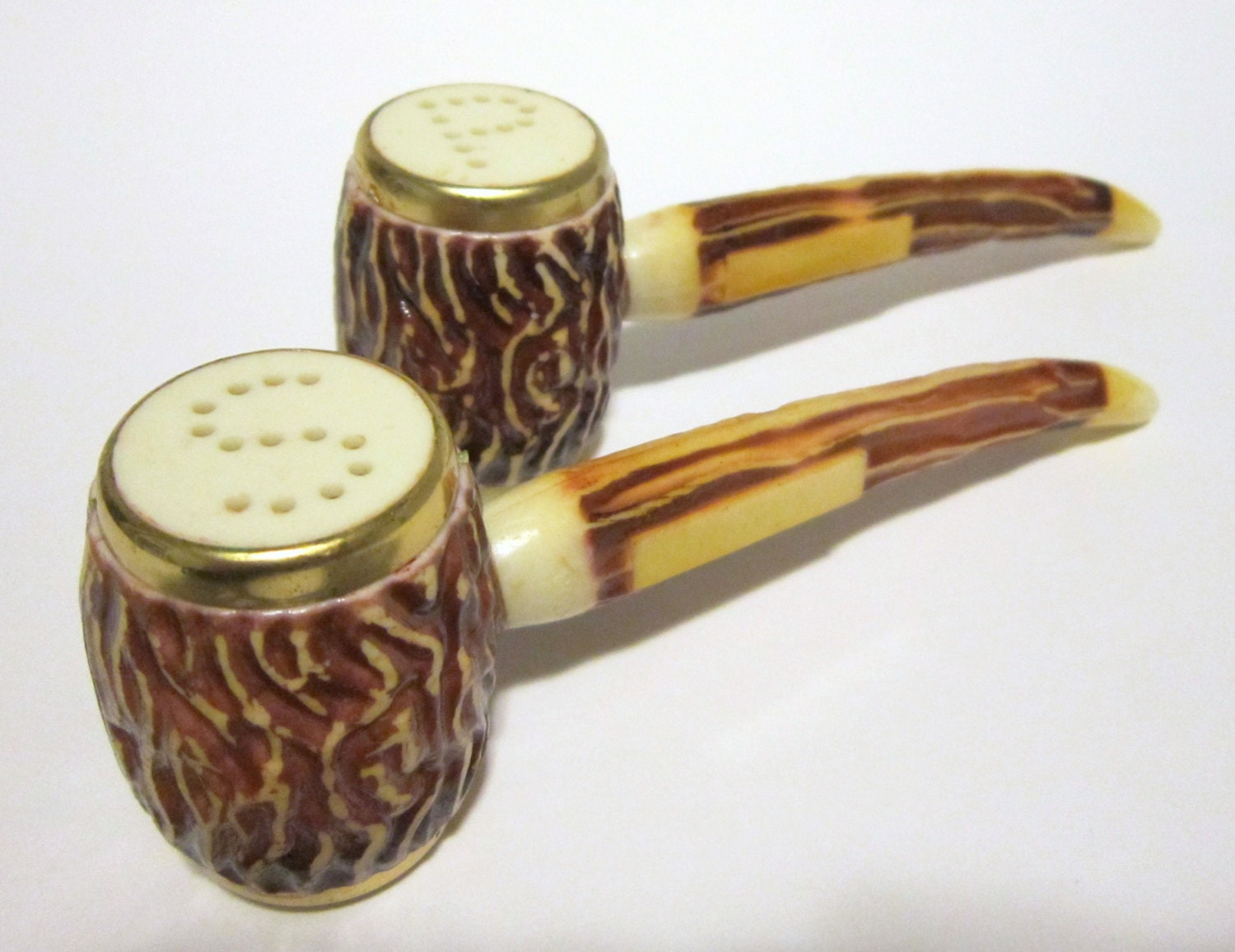 Vintage Pipe Salt And Pepper Shakers Very Cool Desigin And