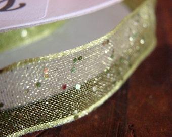 Ribbon, Green Ribbon, Wired Edge Ribbon, Sparkle Ribbon