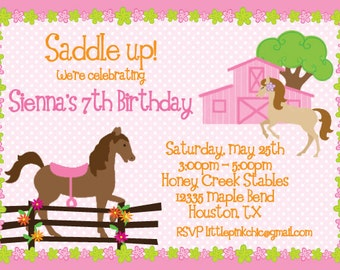 Springtime Horses Birthday Invitation