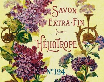 French Vintage Soap Label Heliotrope jpeg instant digital download