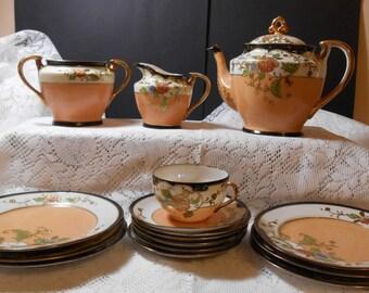 Mid 1920's Moriyama MoriMachi, 16 piece Lustre Ware Tea & Dessert Set
