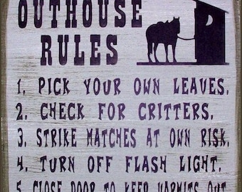"""Outhouse Rules, Size: 12"""" tall x 12"""" Color Shown-Antique Barnwood/Black Lettering"""
