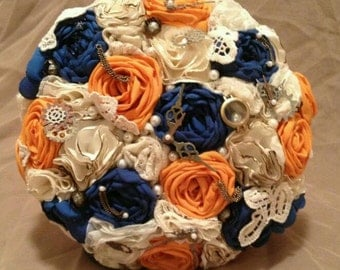 Steampunk fabric bouquet, handmade custom to order any size, color, and flower type can be custom made by your choice.