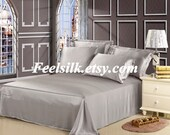 Free shipping 100% mulberry silk charmuse silk bedding flat sheet silver grey color twin full queen king size