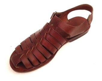 DOROS: All Leather Gladiator Flat Sandal Handmade leather sandal custom size available