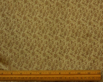 "Gold/Burgundy Silk/Metallic Brocade Jacquard Fabric 44"" Wide, By The Yard (JD-391A)"