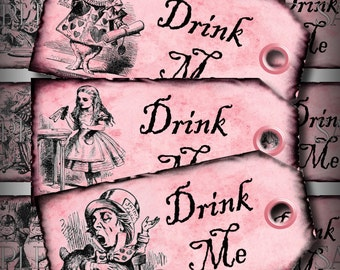 Pink Drink Me Alice in Wonderland Favor Tags Printable Instant Download Digital Collage