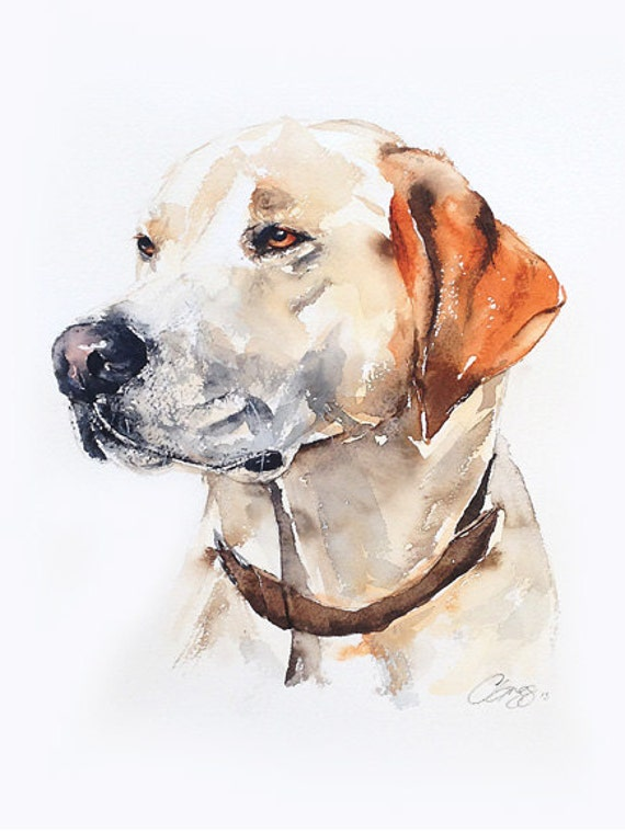Custom pet portrait original watercolour painting dog or cat for Painting of your dog