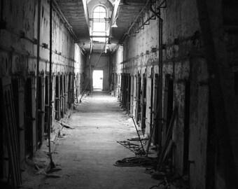 Old Prison In Disrepair A Black & White Photograph  Fine Art
