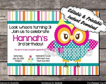 Owl Invitation Birthday Party - Editable Printable Digital File with Instant Download