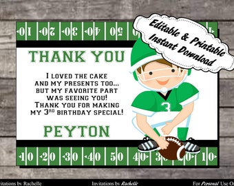 Football Thank You Card Birthday Party Green and White- Editable Printable Digital File with Instant Download