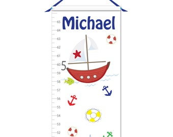 Growth Chart - Personalized Growth Chart - Sailboat Growth Chart - Canvas Growth Chart - Nautical Growth Chart - Boy Growth Chart