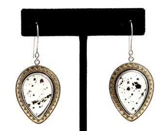Montana Moss 4 - Earrings - Sterling Silver and 24K Gold plating - Montana Moss Agate