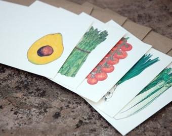 Vegetable Garden Illustrated Notecards {Set of 15}