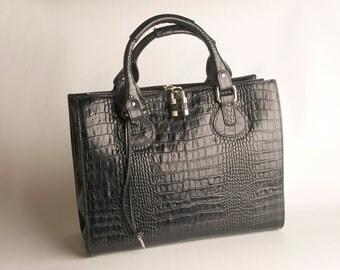 Kim Bag, Crocodile Print on Genuine Leather