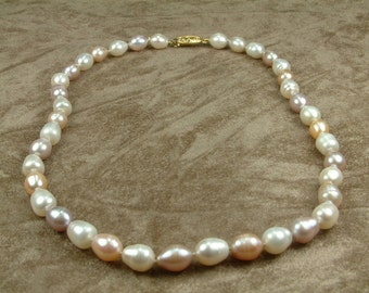 Multicolor White Pink Pearl Necklace 8 - 9 mm (Κολιέ με Λευκά και Ροζ Μαργαριτάρια 8 - 9 mm)