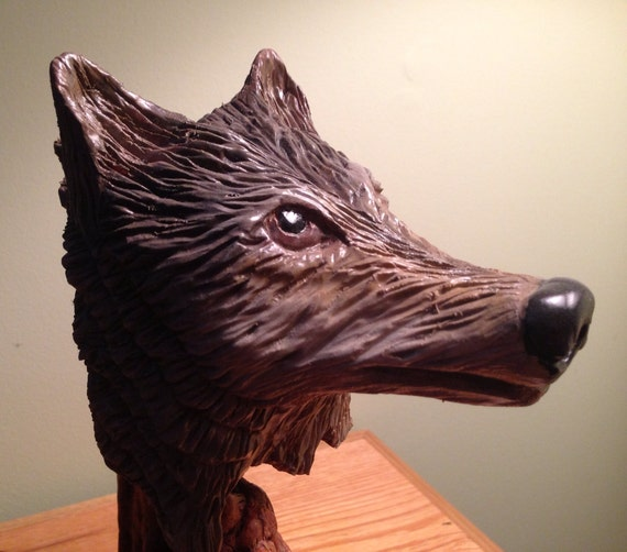 Items similar to sale wolf head woodcarving