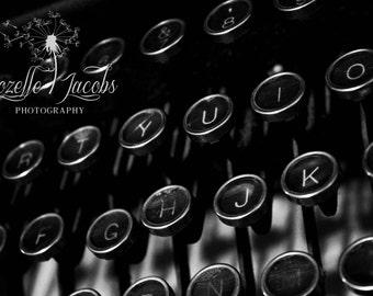 Typewriter Photograph, Royal Typewriter, Writer,Type, Typing Photograph, Photo, Still Life, Write, Home Decor, Wall Art, Black and White
