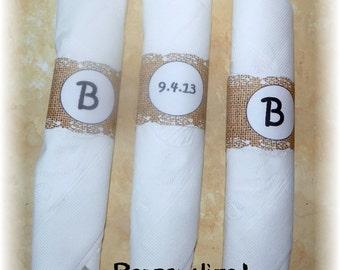 Personalized printable Burlap Lace Napkin Ring (DIY)