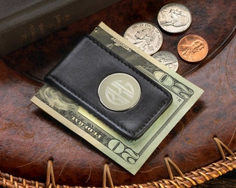 Personalized Leather Magnetic Money Clip - Monogrammed Money Clip - Personalized Money Clip - Groomsmen Gifts -  BLK GC1042/BRN GC1075