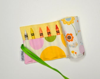 Crayon Roll, Kitty Crayon Organizer, Stocking Stuffer, Childrens Art, Polka Dots