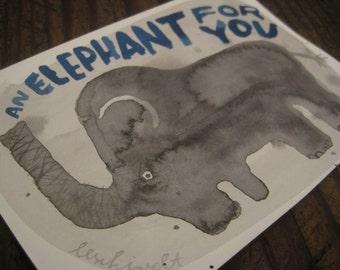 IMAGE ORIGINAL elephant primitive elephant-ink illustration