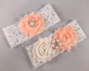Peach Lace Garter Set, Lace Wedding Garter, Lace Bridal Garter, Peach Garter
