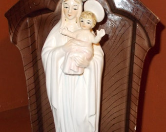 Madonna and Child  Porcelain Planter