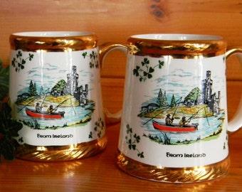 Pair of Vintage Carrigaline Pottery Beer or Coffee Mugs Made In Cork Ireland, Vintage Steins, Irish Beer Steins