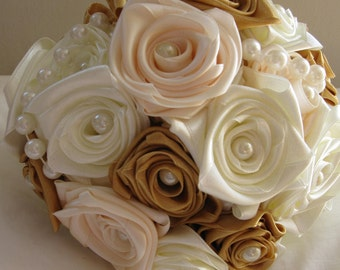 Sale! Special Offer price!  - 40% off Handmade bridal bouquet of satin roses and faux pearls in cream, champagne and gold