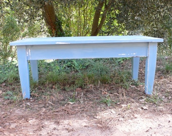 Coffee table painted in blue