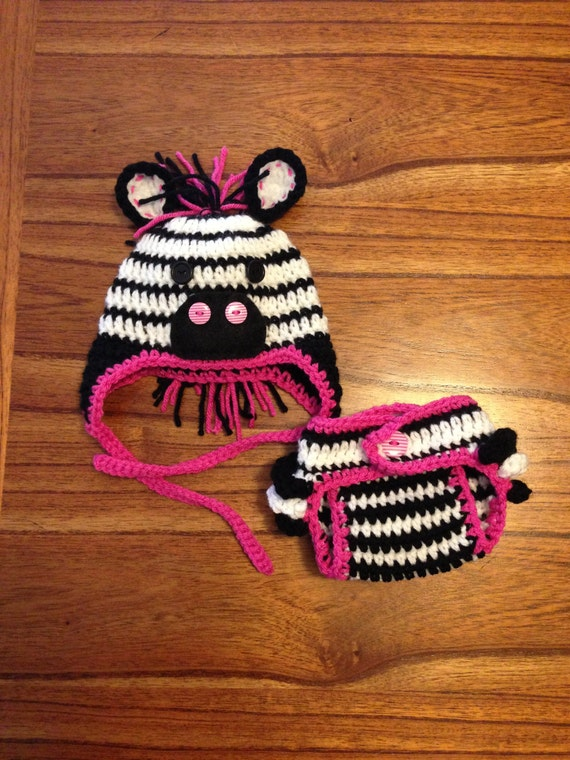 newborn zebra hat and diaper cover crochet by OneCrazyLizard