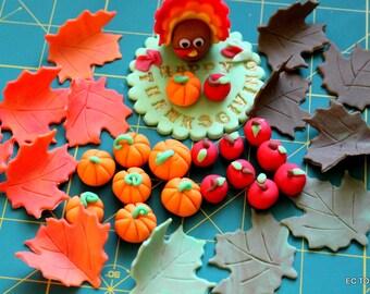 12 Turkey / Thanksgiving Fondant Toppers